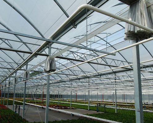foliekas met energiescherm en jonge potplanten